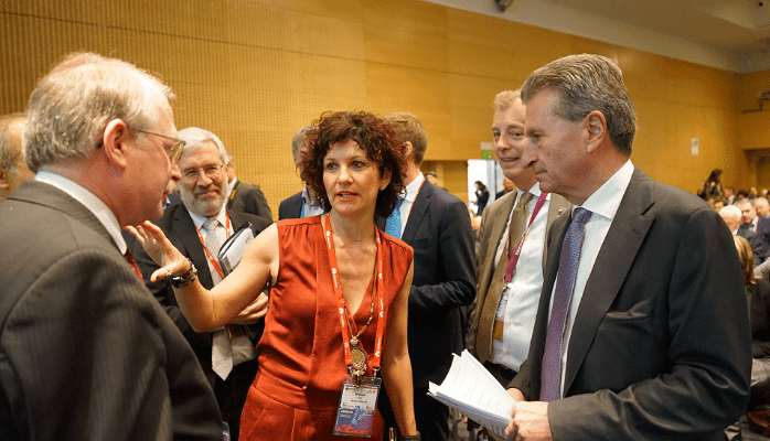 Dr. Monique Calisti with Günther H. Oettinger, EU Commissioner for Digital Economy and Society, and Mario Campolargo Director for Net Futures in DG CONNECT at the Mobile World Congress 2016.